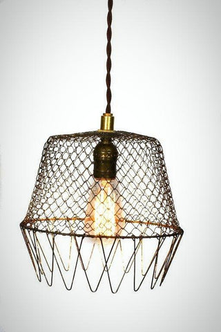 Vintage Industrial Wire Cage Farmhouse Pendant - Junkyard Lighting