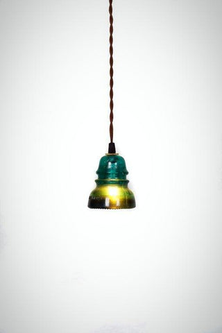 ON SALE - Vintage Repurposed Railroad Telegraph Insulator Pendant Light ( Green or Clear )