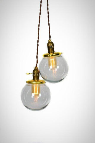 Simply Modern Vintage Style Double Globe Chandelier / Pendant Light