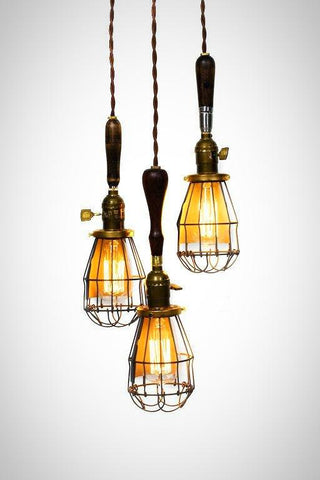 3 Light Caged Vintage Handle Trouble Light Chandelier - Junkyard Lighting