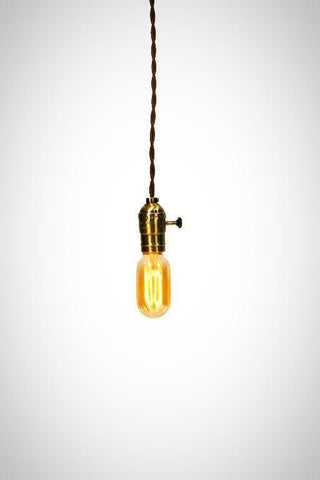 Vintage Industrial - Economy Antique Brass Minimalist Bare Bulb Pendant - Junkyard Lighting