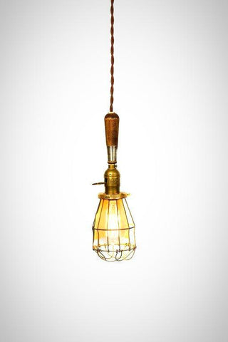 Vintage Farmhouse Wire Wood Handle Caged Trouble Light Pendant ( Brown ) - Junkyard Lighting