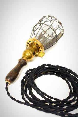Vintage Farmhouse Wood Handle Caged Trouble Light Pendant ( Ebony )