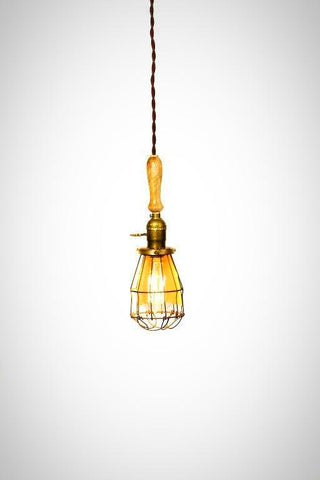 Vintage Farmhouse Wood Handle Caged Trouble Light Pendant ( Natural ) - Junkyard Lighting