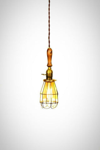 Vintage Farmhouse Wood Handle Caged Trouble Light Pendant ( Brown ) - Junkyard Lighting