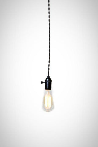 Simply Modern Bare Bulb Black Socket Pendant Light