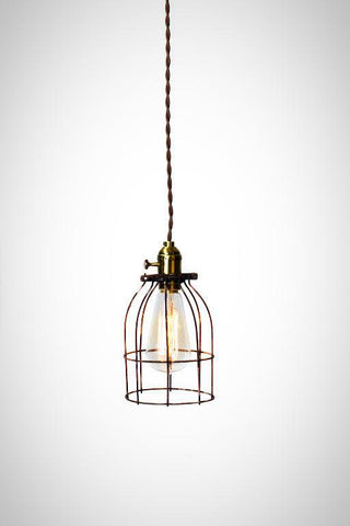 Industrial Caged Minimilist Bare Bulb Pendant Light