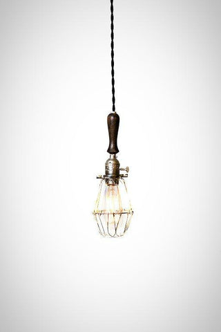 Brushed silver/ebony wood handle caged trouble light pendant (plug in / hardwire) - Junkyard Lighting