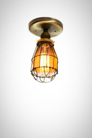 Minimalist Antique Brass Cage Fixture light - Ceiling Flush Mount / Sconce - Junkyard Lighting