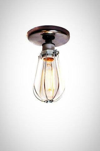 Industrial Bare Bulb Caged Light Ceiling Flush Mount / Wall Sconce
