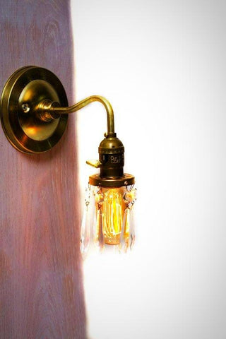 Brass Arm Open Crystal Shade Bare Bulb Vintage Style Paddle Key Socket Wall Sconce