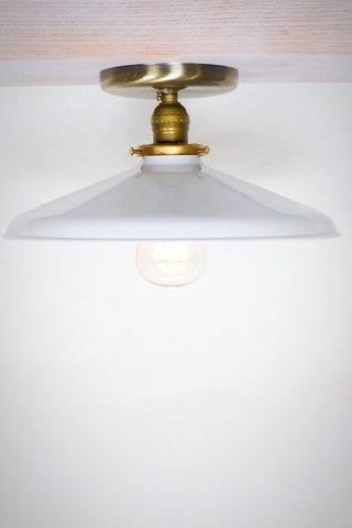 "Industrial Gloss White 12"" Porcelain Enamel Shade Edison Flush Mount Light ( antique brass or chrome )"