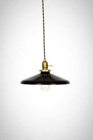 "Industrial Gloss Black 12"" Porcelain Enamel Shade Edison Pendant Light ( antique brass or chrome )"