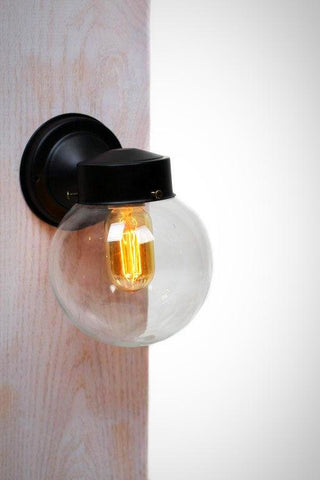 Mini Clear Glass Globe Wall Sconce Light