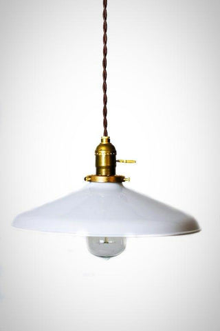 "Industrial Gloss White 12"" Porcelain Enamel Shade Edison Pendant Light (options) - Junkyard Lighting"