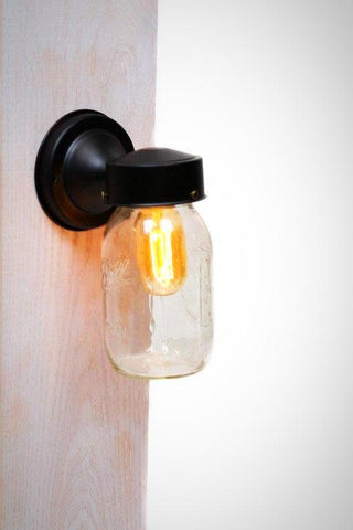 Mason Jar Edison Wall Sconce Light Fixture - Junkyard Lighting