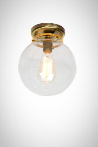 "Flush Mount Brass 8"" Glass Globe Edison Light"