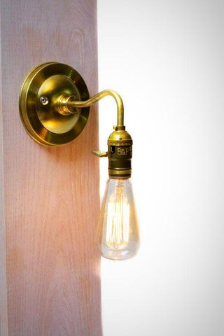 Brass Arm Bare Bulb Edison Paddle Key Socket Wall Sconce