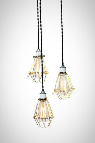 Modern Industrial Porcelain Socket Brass Caged 3 Light Chandelier