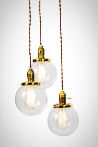 Simply Modern 3 Globe Vintage Light Chandelier - Customize - Junkyard Lighting