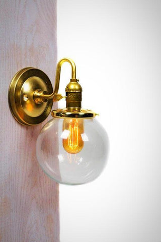 Simply Vintage and Modern Clear Globe Brass Arm Wall Sconce