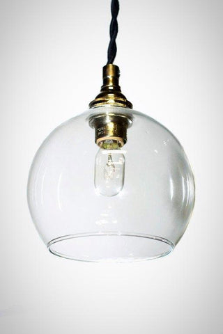 Mini clear glass open bottom shade pendant light - vintage modern style - Junkyard Lighting