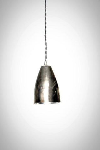 Mid Century Modern Cone Shade Pendant Light / Pol. Nickel or Brass - Junkyard Lighting