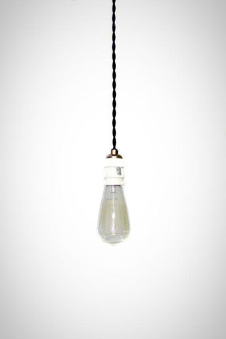 Simply Modern bare bulb 1900's antique socket Pendant light in White