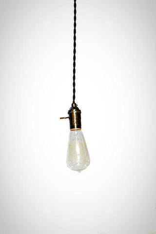Simply Modern bare bulb turnkey socket pendant in shiny gunmetal