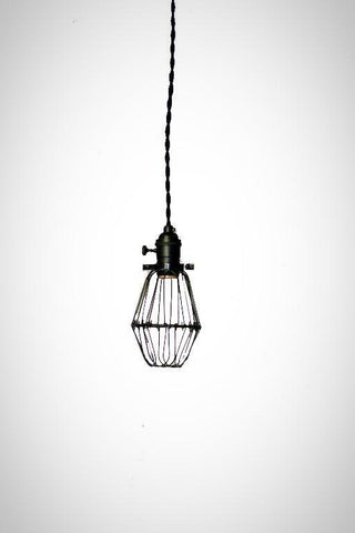 Blackout Simply Modern bare bulb caged Edison pendant light in All BLACK