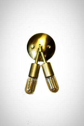 Vintage Mid Modern double down minimalist bare exposed bulb Wall sconce ( Comes in Brass or Chrome )