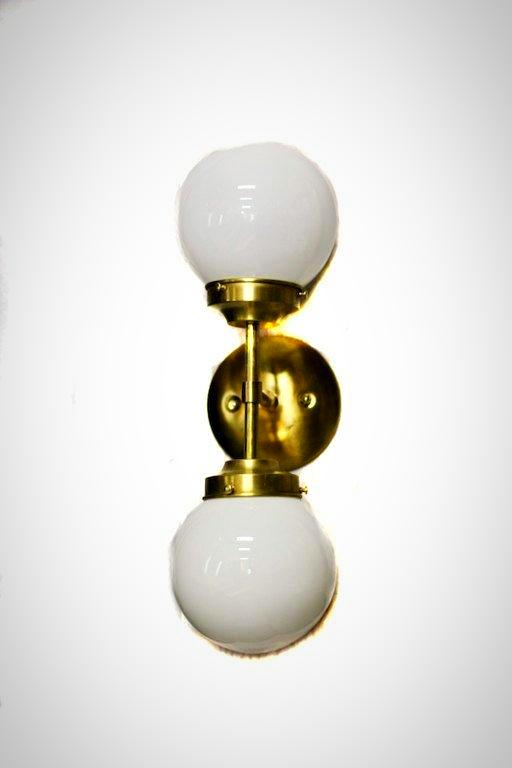 Mid Century Modern Double Glass Globe Wall Sconce Flush Mount
