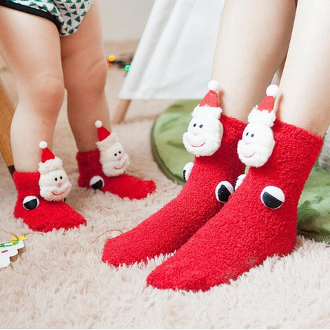 Funny Cute Christmas Thick Coral Velvet Socks (Adult and Kids Size Available)
