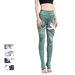 Camellia Women Printed High Waist Fitness Legging - half foot cover
