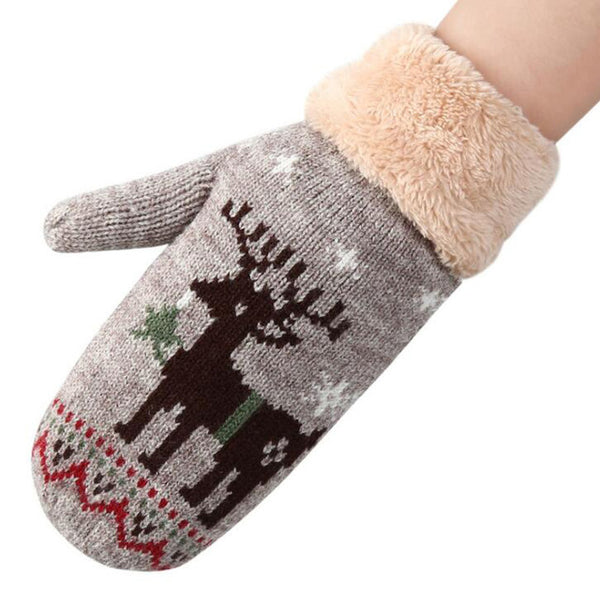 Reindeer Patterned Women Winter Gloves