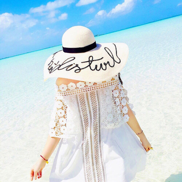 Wide Brim Beach Straw Hat - Do Not Disturb