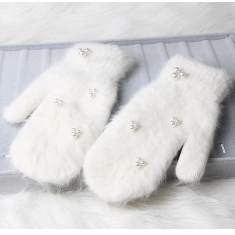 Women Winter Gloves with Cute Pearl Decoration