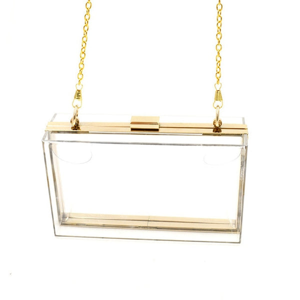 Tierra Transparent Clutch Chain Box Handbag