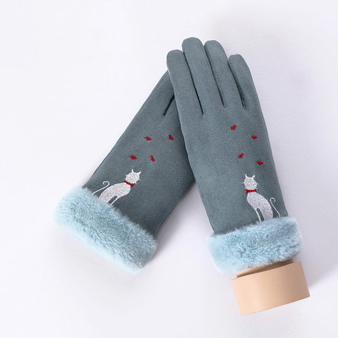 Lovely Cat Double Thick Warm Mittens with Phone Touch Screen Function