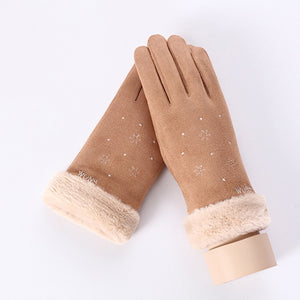 Snowflake Double Thick Warm Mittens with Phone Touch Screen Function