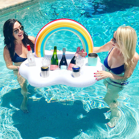 Inflatable Rainbow Pool Float Cooler Table