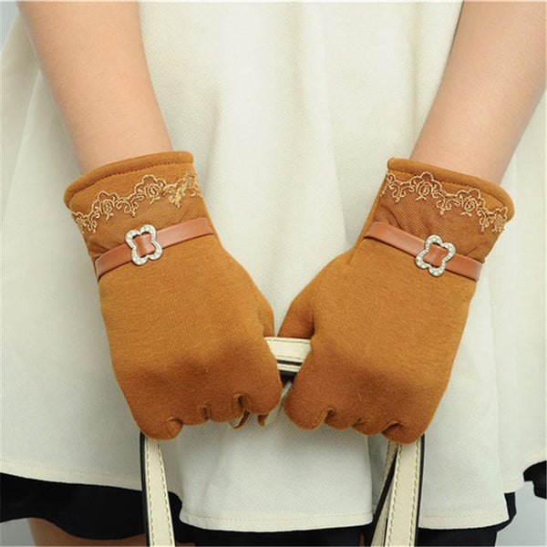 Fashion Women Ladies Touch Screen Warm Weaved Knit Wrist-Gloves Outdoor Bicycle Cute Mittens Winter Warmer Accessories