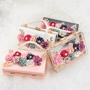 Conficurvy Luxury Crystal Flowers Evening Bags