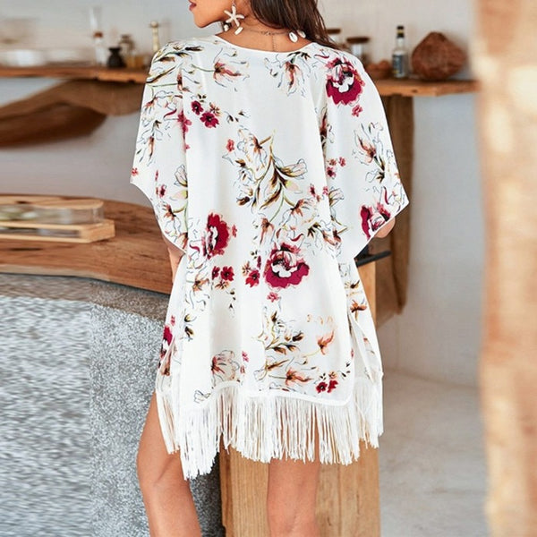 Floral Print Tassel Cover Up - Kate Wardrobe