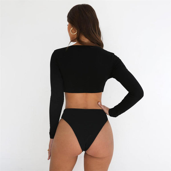 Full Sleeve Solid Bodysuit - Kate Wardrobe