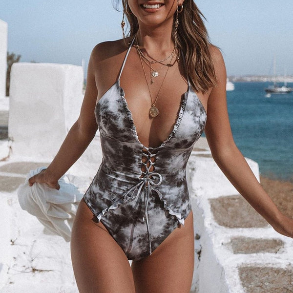 Tie-up Front Sexy One-piece Suit - Kate Wardrobe