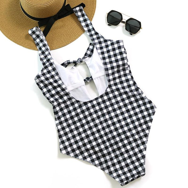 Plaid Tie Front Monokini - Kate Wardrobe
