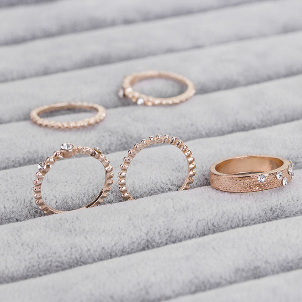 5 Crystal Elegant Boho Rings - Kate Wardrobe
