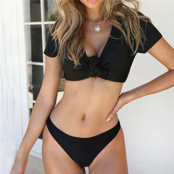 Front Knot Sleeved Bikini - Kate Wardrobe
