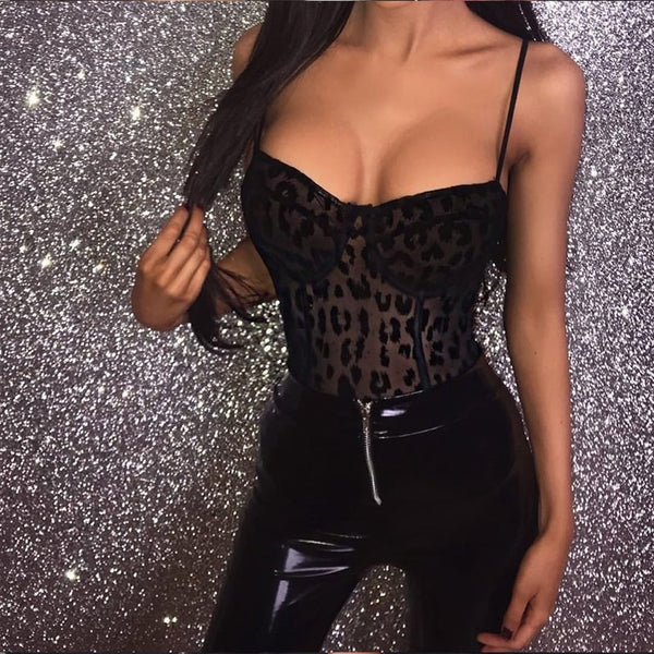 Black Leopard Bodysuit - Kate Wardrobe